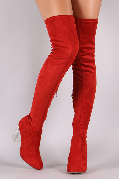 Fitted Suede Lucite Chunky Heeled Over-The-Knee Boots - Porcupine Lagoon LLC -Shoes, Knee High Boots