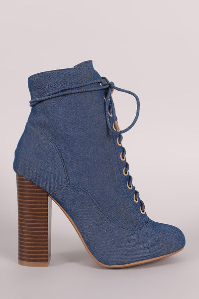 Bamboo Denim Lace Up Chunky Heeled Ankle Boots - Porcupine Lagoon LLC -Shoes, Booties