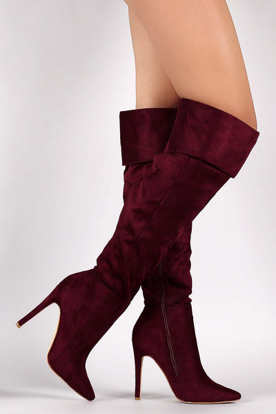 Suede Pointy Toe Cuff Over-The-Knee Stiletto Boots - Porcupine Lagoon LLC -Shoes, Knee High Boots