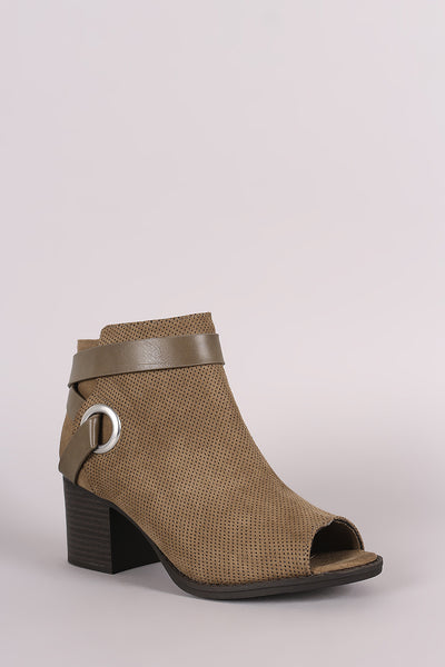 Qupid Perforated Strappy Block Heeled Ankle Boots - Porcupine Lagoon LLC -Shoes, Booties