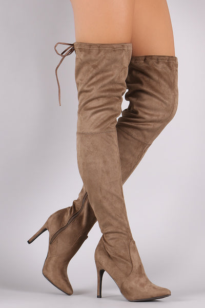 Breckelle Suede Drawstring-Tie Pointy Toe Stiletto Boots - Porcupine Lagoon LLC -Shoes, Knee High Boots