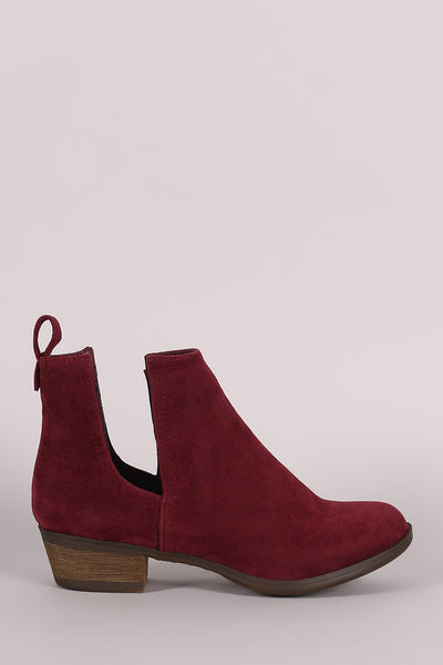 Breckelle Suede Side Cutout Cowgirl Booties - Porcupine Lagoon LLC -Shoes, Booties