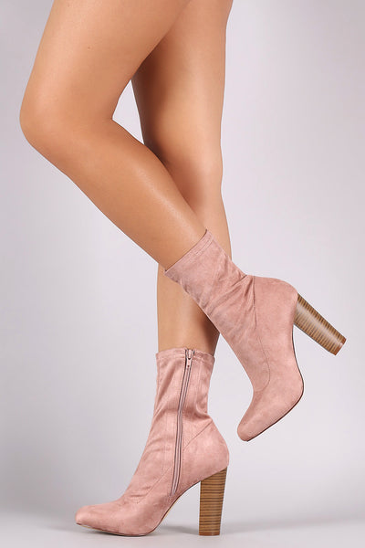 Vegan Suede Stretch Fit Chunky Heel Booties - Porcupine Lagoon LLC -Shoes, Booties