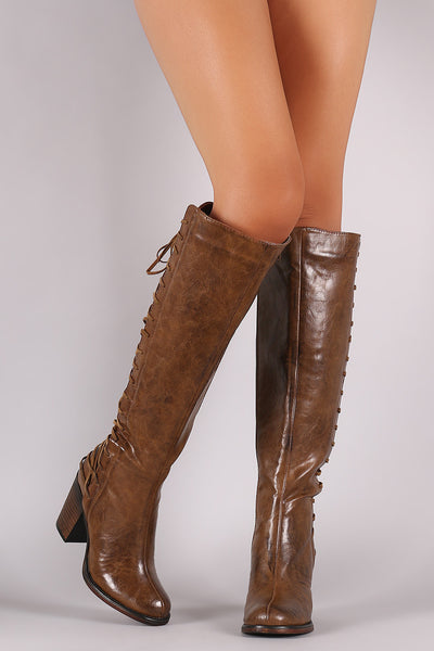 Back Corset Lace-Up Chunky Heeled Boots - Porcupine Lagoon LLC -Shoes, Knee High Boots