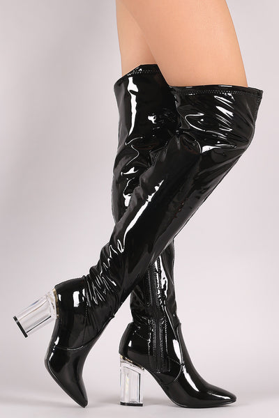 Stretched Patent Chunky Lucite Heeled Over-The-Knee Boots - Porcupine Lagoon LLC -Shoes, Knee High Boots