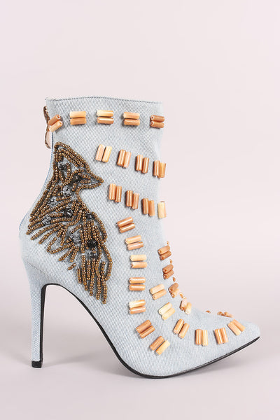 Beads Embellished Stiletto Denim Ankle Boots - Porcupine Lagoon LLC -Shoes, Booties