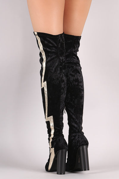 Lightning Bolt Round Heeled Over-The-Knee Velvet Boots - Porcupine Lagoon LLC -Shoes, Knee High Boots