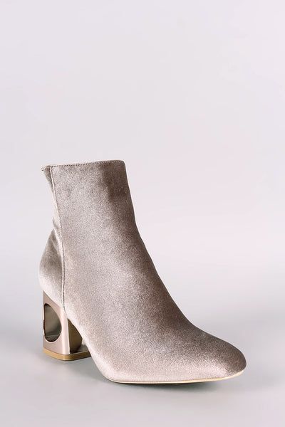 Crushed Velvet Circle Cutout Chunky Heeled Ankle Boots - Porcupine Lagoon LLC -Shoes, Booties
