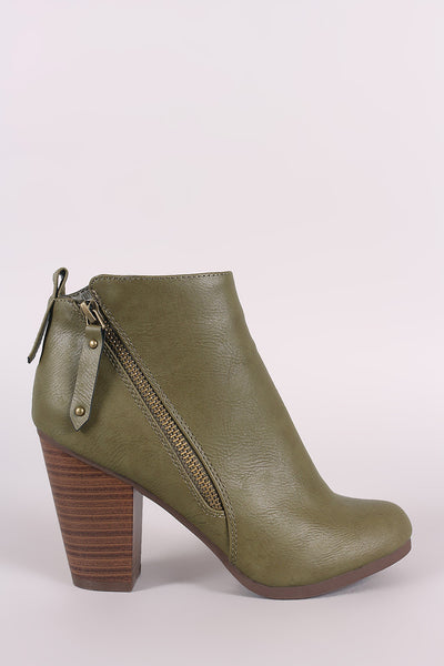 Breckelle Zipper Trim Chunky Heeled Ankle Boots - Porcupine Lagoon LLC -Shoes, Booties