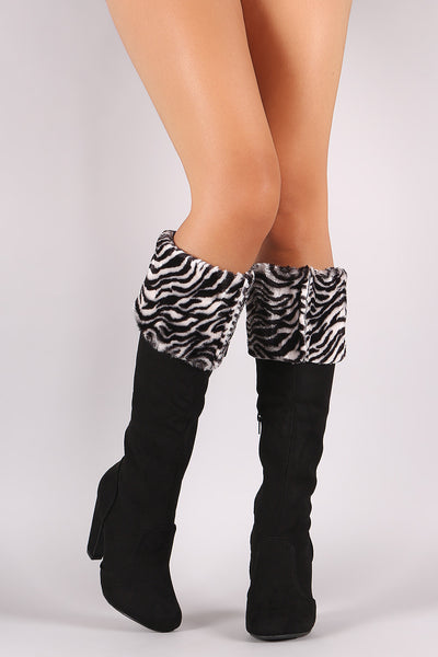 Bamboo Zebra Fur Cuff Heeled Suede Boots - Porcupine Lagoon LLC -Shoes, Knee High Boots
