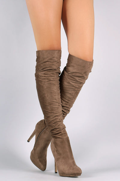 Liliana Slouchy Knee High Platform Stiletto Boots - Porcupine Lagoon LLC -Shoes, Knee High Boots