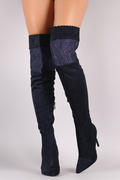 Suede Scalloped Lace Panel Pointy Toe Stiletto Boots - Porcupine Lagoon LLC -Shoes, Thigh High Boots