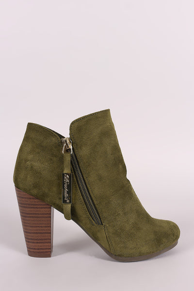 Breckelle Suede Zip Up Chunky Heeled Booties - Porcupine Lagoon LLC -Shoes, Booties