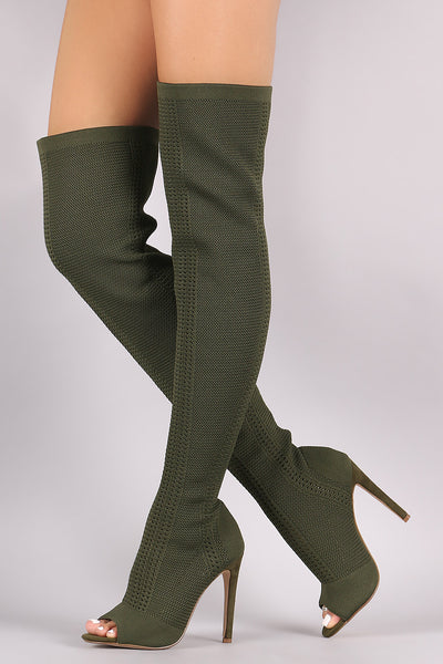 Stretch Pierced Knit Stiletto Over-The-Knee boots - Porcupine Lagoon LLC -Shoes, Knee High Boots