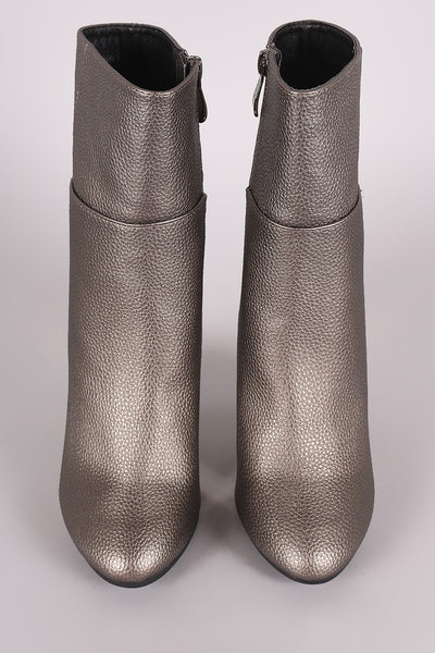 Pebbled Chunky Metallic Lucite Heeled Ankle Boots - Porcupine Lagoon LLC -Shoes, Booties
