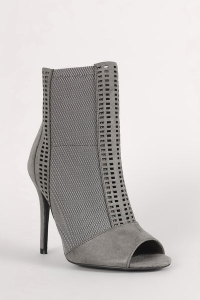 Qupid Perforated Suede Mesh Inset Stiletto Booties - Porcupine Lagoon LLC -Shoes, Booties