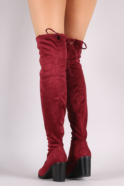 Stretched Suede Collar Tie Chunky Heeled Over-The-Knee Boots - Porcupine Lagoon LLC -Shoes, Knee High Boots