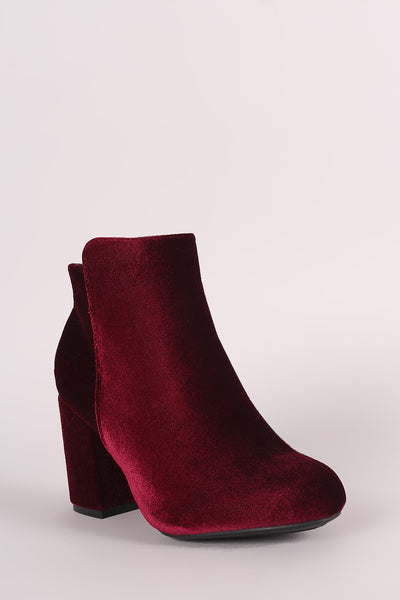 Bamboo Crushed Velvet Chunky Heeled Ankle Boots - Porcupine Lagoon LLC -Shoes, Booties