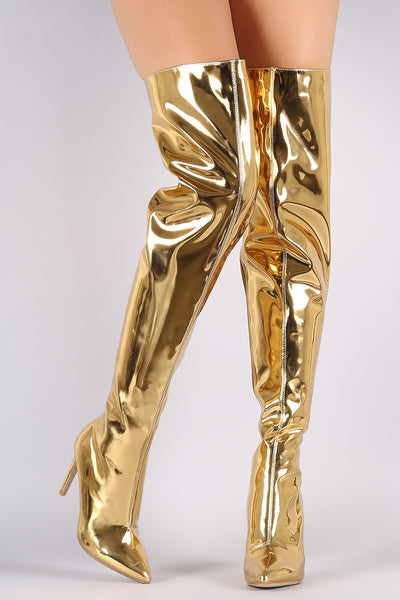Mirror Metallic Pointy Toe Stiletto Over-The-Knee Boots - Porcupine Lagoon LLC -Shoes, Thigh High Boots