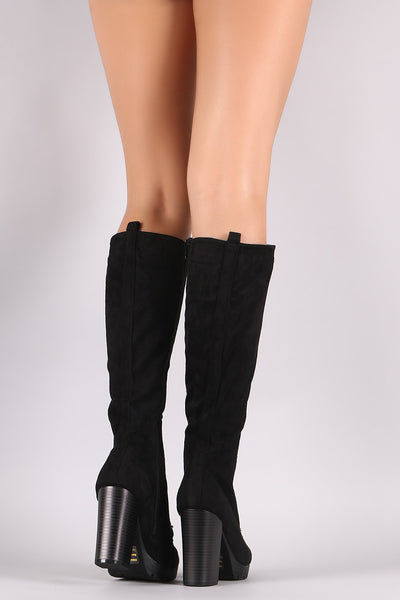 Wild Diva Lounge Lug Sole Chunky Heeled Combat Lace Up Boots - Porcupine Lagoon LLC -Shoes, Knee High Boots
