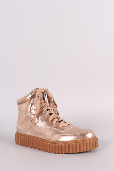 Metallic Round Toe Lace Up High Top Creeper Sneaker - Porcupine Lagoon LLC -Shoes, Booties