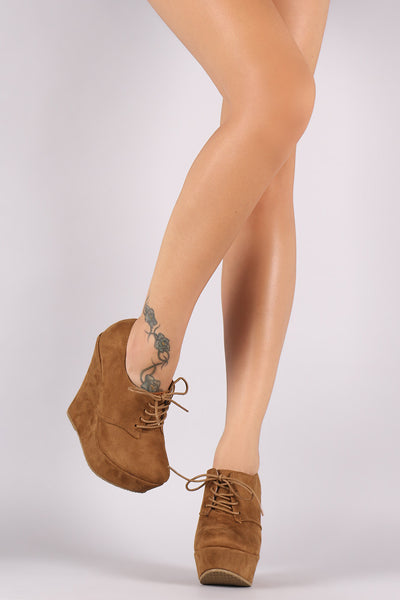 Suede Oxford Lace Up Platform Wedge Booties - Porcupine Lagoon LLC -Shoes, Booties