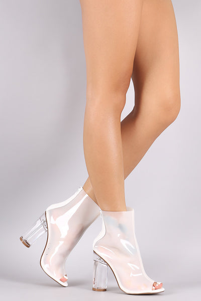 Liliana Peep Toe Chunky Lucite Heeled Ankle Boots - Porcupine Lagoon LLC -Shoes, Booties