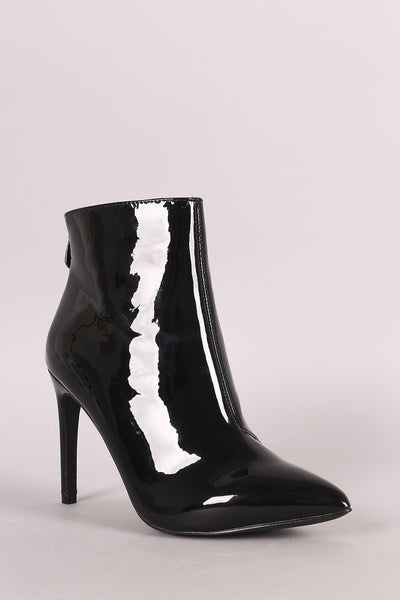Patent Pointy Toe Stiletto Ankle Boots - Porcupine Lagoon LLC -Shoes, Booties