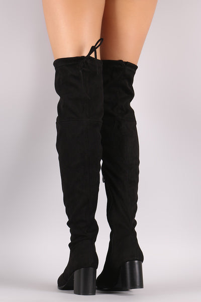 Suede OTK Drawstring Fitted Block Heeled Boots - Porcupine Lagoon LLC -Shoes, Knee High Boots