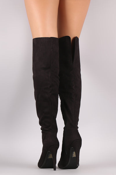Suede Pointy Toe Slit Stiletto Over-The-Knee Boots - Porcupine Lagoon LLC -Shoes, Knee High Boots
