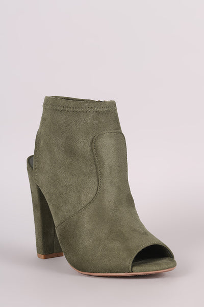 Delicious Suede Peep Toe Chunky Heeled Ankle Boots - Porcupine Lagoon LLC -Shoes, Booties