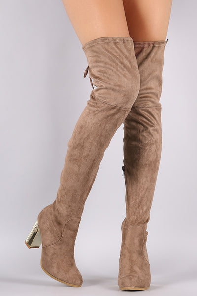 Suede Drawstring Tie Chunky Metallic Heeled Over-The-Knee Boots - Porcupine Lagoon LLC -Shoes, Knee High Boots