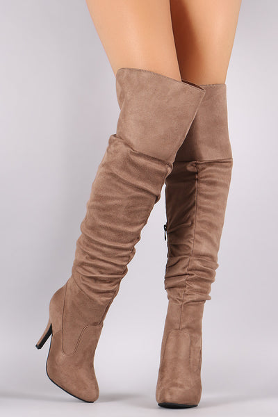 Slouchy Suede OTK Almond Toe Stiletto Boots - Porcupine Lagoon LLC -Shoes, Thigh High Boots