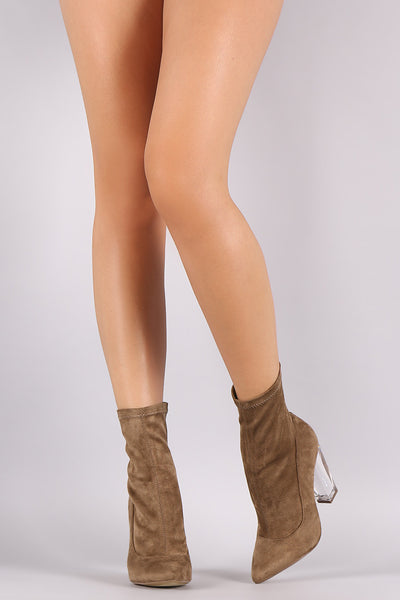 Liliana Suede Pointy Toe Chunky Lucite Heeled Ankle Boots - Porcupine Lagoon LLC -Shoes, Booties