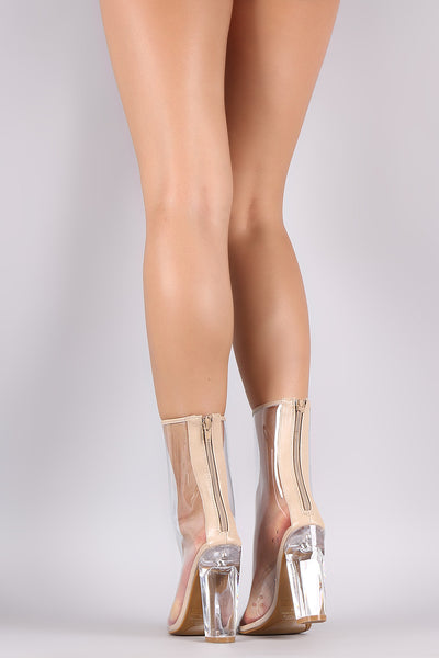 Bamboo Transparent Pointy Toe Chunky Heeled Boots - Porcupine Lagoon LLC -Shoes, Booties