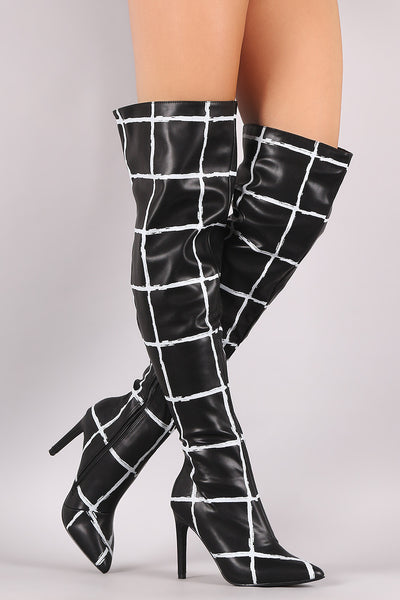 Grid Pattern Pointy Toe Stiletto Over-The-Knee Boots - Porcupine Lagoon LLC -Shoes, Knee High Boots