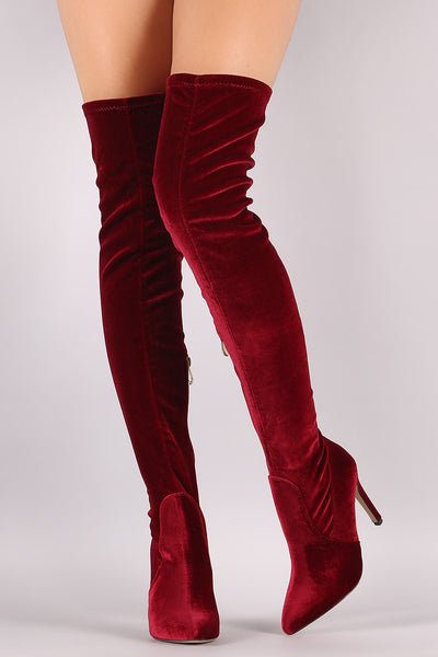 Velvet Pointy Toe Stiletto Over-The-Knee Boots - Porcupine Lagoon LLC -Shoes, Knee High Boots