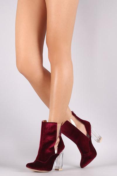 Crushed Velvet Lucite Inset Chunky Perspex Heeled Booties - Porcupine Lagoon LLC -Shoes, Booties