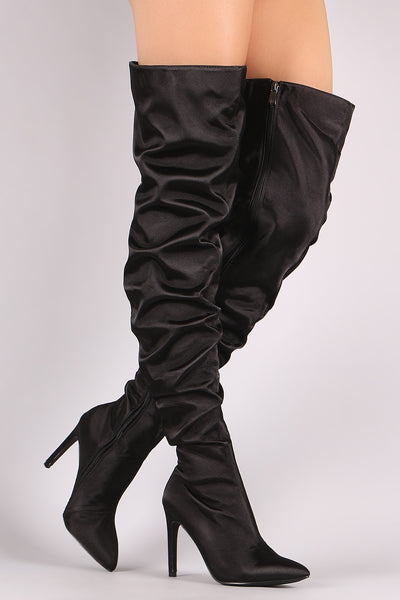 Slouchy Satin Pointy Toe Stiletto Over-The-Knee Boots - Porcupine Lagoon LLC -Shoes, Knee High Boots