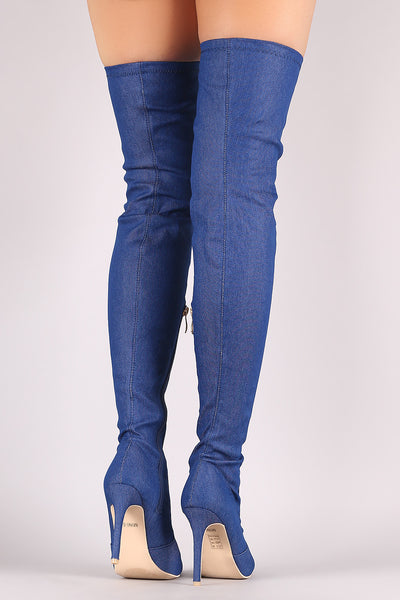 Denim Pointy Toe Stiletto Over-The-Knee Boots - Porcupine Lagoon LLC -Shoes, Knee High Boots