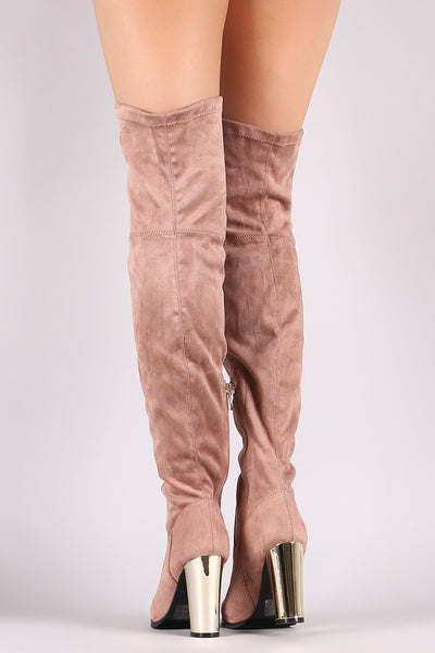 Qupid Suede Chunky Metallic Heeled Over-The-Knee Boots - Porcupine Lagoon LLC -Shoes, Knee High Boots