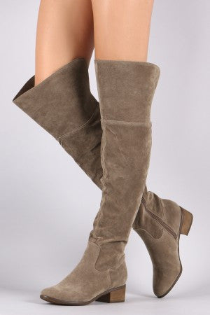Breckelle Suede Slit Riding Over-The-Knee Boots - Porcupine Lagoon LLC -Shoes, Knee High Boots