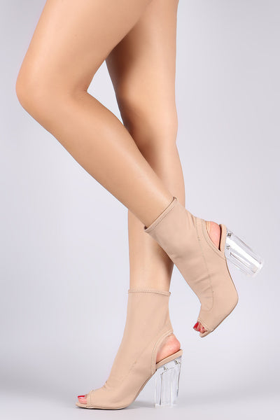 Qupid Elastane Chunky Perspex Heeled Ankle Boots - Porcupine Lagoon LLC -Shoes, Booties