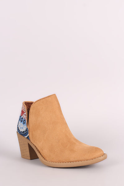 Qupid Tribal Cutout Chunky Heeled Booties - Porcupine Lagoon LLC -Shoes, Booties