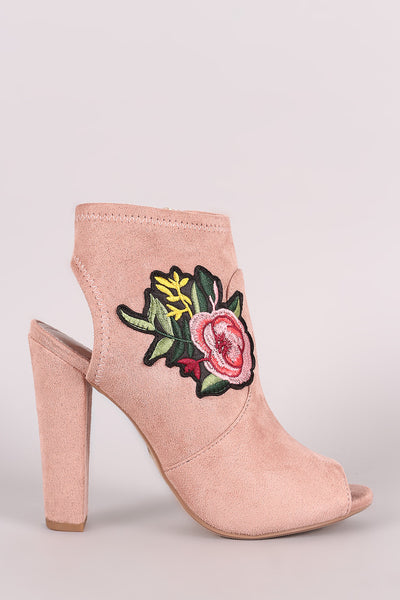 Delicious Suede Floral Patch Peep Toe Chunky Heeled Booties - Porcupine Lagoon LLC -Shoes, Booties