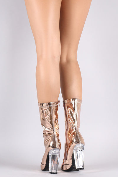 Shoe Republic LA Pointy Toe Chunky Perspex Heeled Mid Calf Boots - Porcupine Lagoon LLC -Shoes, Boots