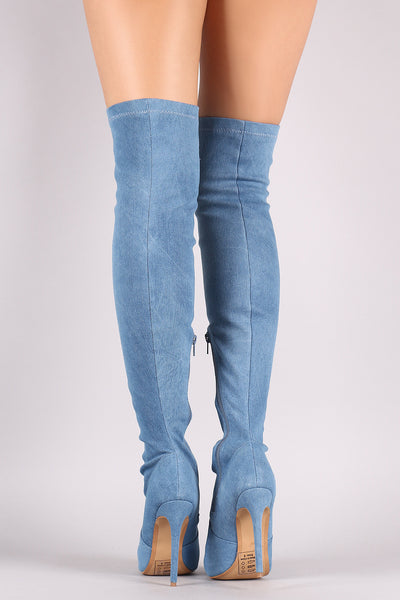 Shoe Republic LA Ripped Denim Stiletto Over-The-Knee Boots - Porcupine Lagoon LLC -Shoes, Boots