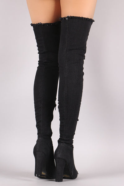 Bamboo Distressed Denim Chunky Heeled Over-The-Knee Boots - Porcupine Lagoon LLC -Shoes, Boots
