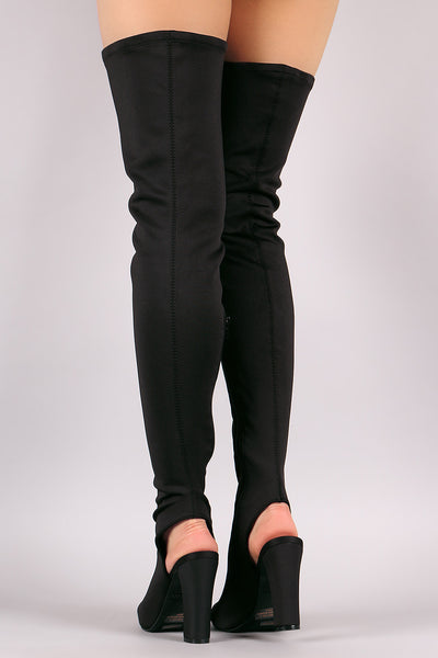 Bamboo Fitted Elastane Chunky Heeled Over-The-Knee Boots - Porcupine Lagoon LLC -Shoes, Boots