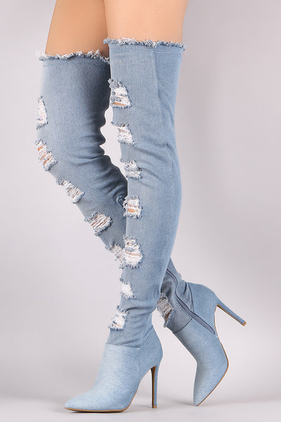 Anne Michelle Shredded Denim Over-The-Knee Boots - Porcupine Lagoon LLC -Shoes, Boots